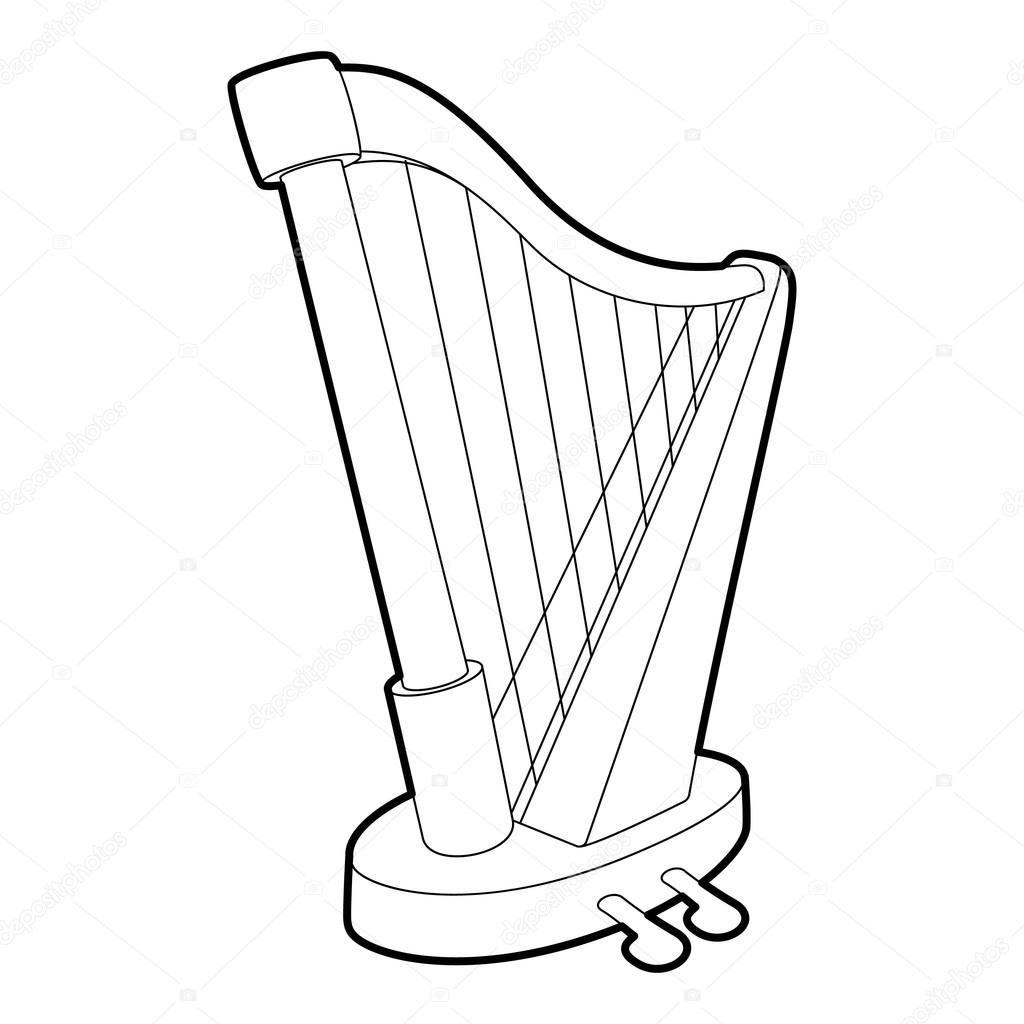 하프 아이콘, 개요 아이소메트릭 스타일 — 스톡 벡터 © Ylivdesign #128074898 destiné Dessin Harpe