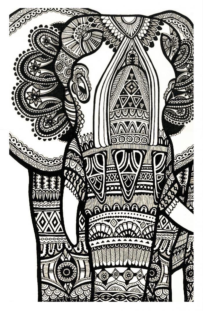 Elephant | Elephant Print Art, Elephant Art, Art Prints tout Mandala Animaux À Imprimer Gratuit