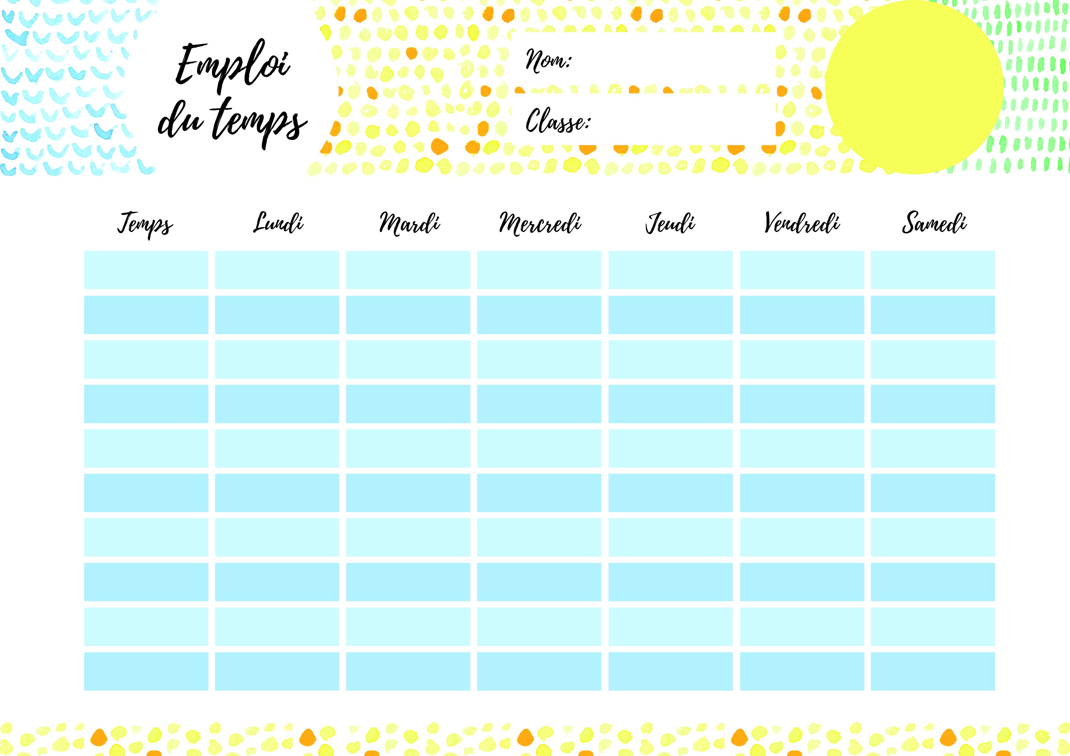 Emploi Du Temps À Imprimer - @Myposter concernant Emploi Du Temps À Compléter
