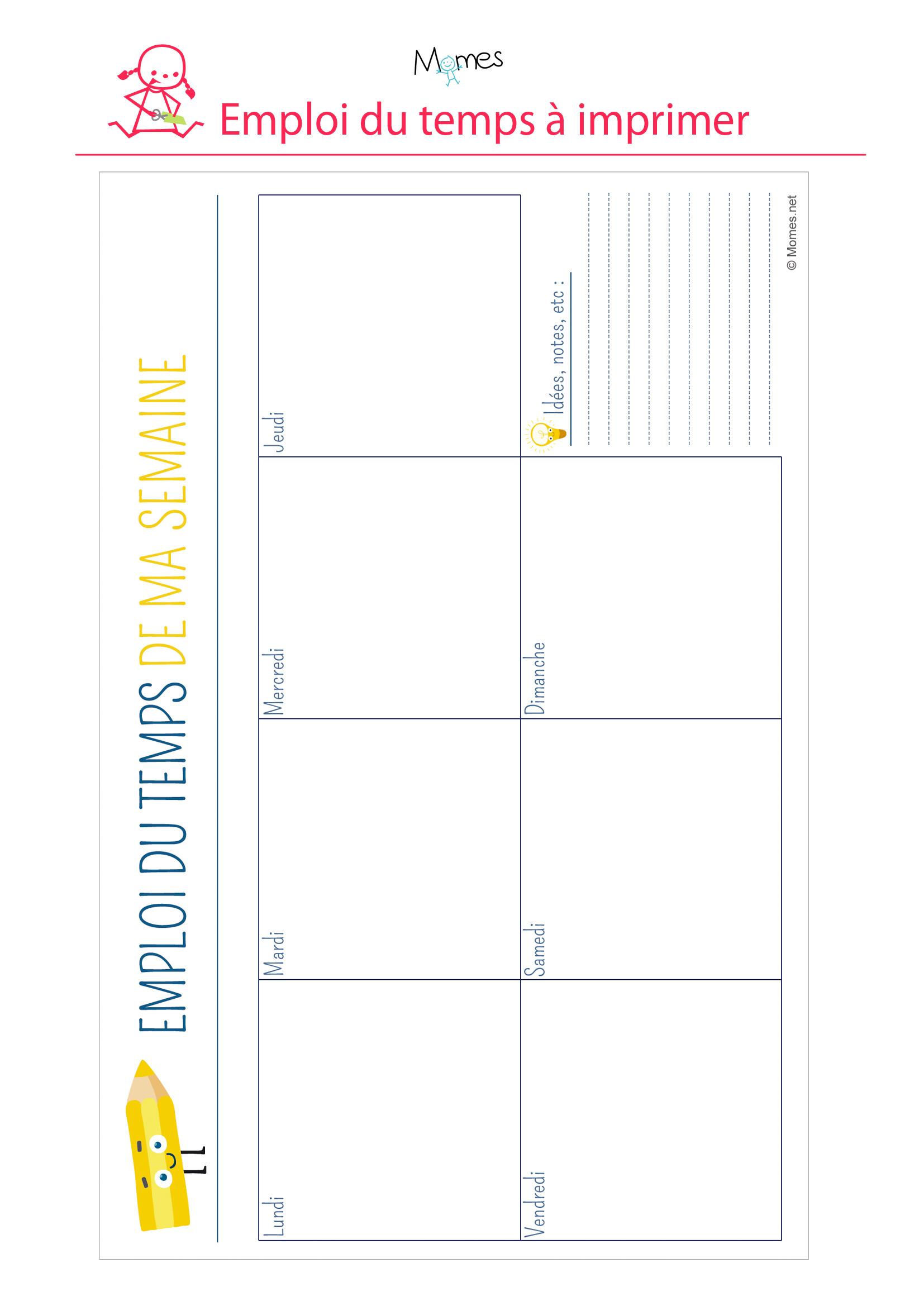 Emploi Du Temps Crayon À Imprimer - Momes destiné Emploi Du Temps À Compléter