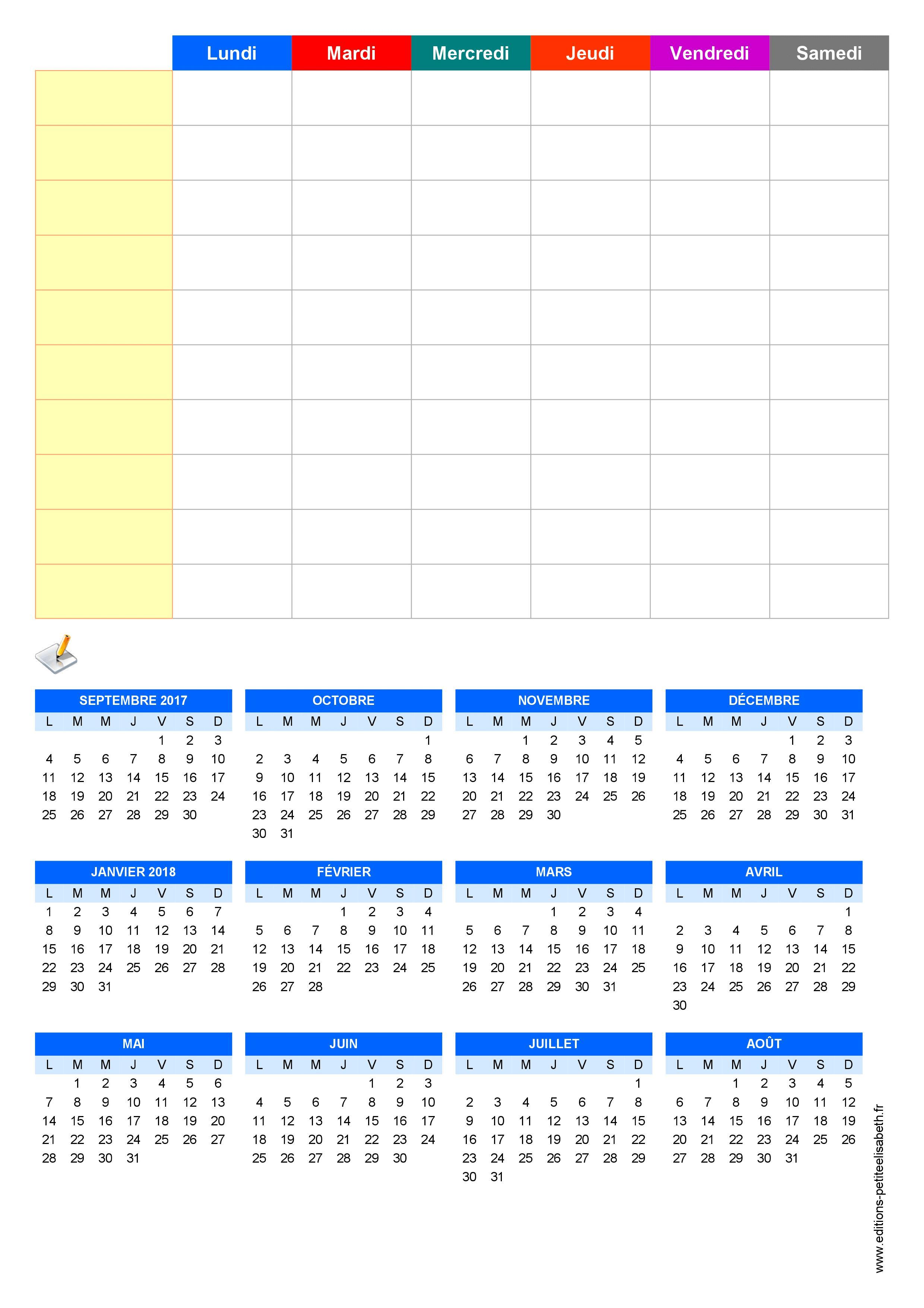 Emploi Du Temps Scolaire Hebdomadaire 2017-2018 À Imprimer pour Emploi Du Temps À Compléter