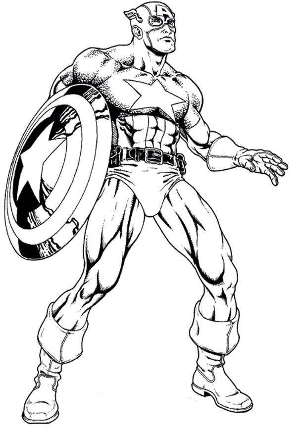 Épinglé Sur Années 50-60 dedans Coloriage Captain America