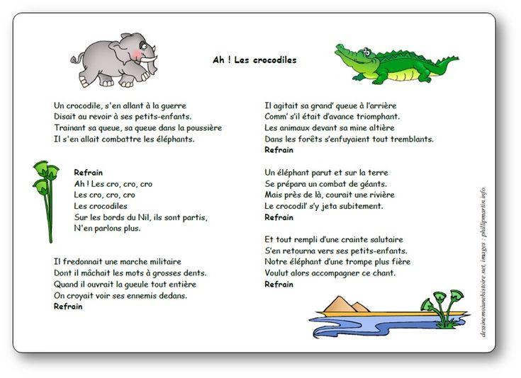 Épinglé Sur Comptine serapportantà Ah Les Cro Cro Les Coco Pour Les Crocodiles