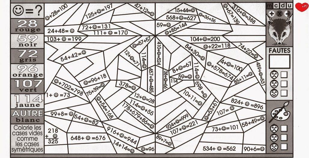 Épinglé Sur Ecole intérieur Coloriage Magique Ce1 Maths