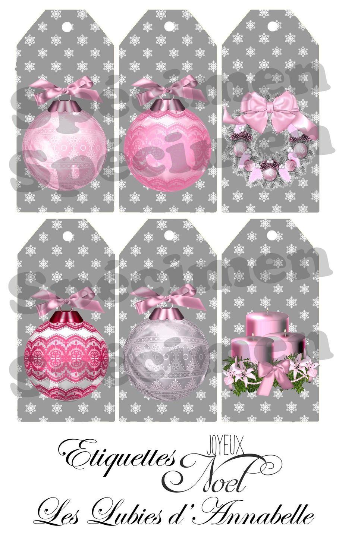 Étiquettes De Noël Gris Et Rose À Imprimer | Etiquettes encequiconcerne Images De Noel À Imprimer Gratuitement
