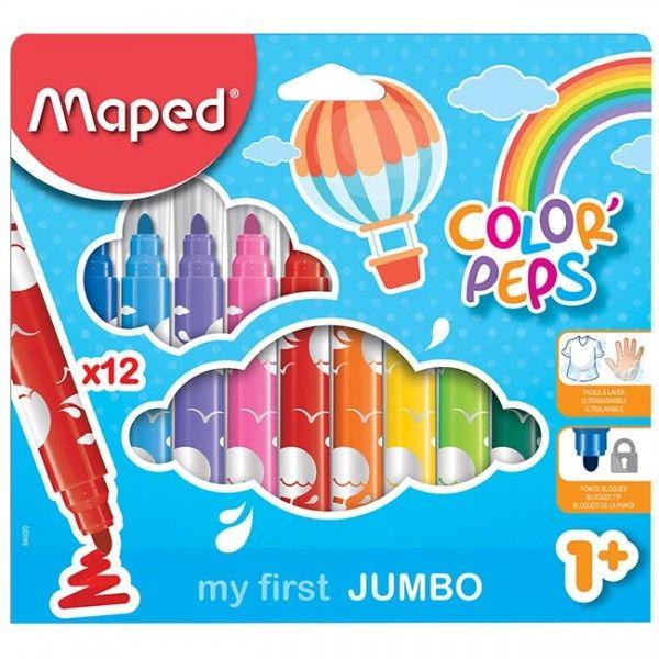 Etui De 12 Feutres Jumbo Color Peps Premier Age Maped Pas à Feutres Coloriage Pas Cher