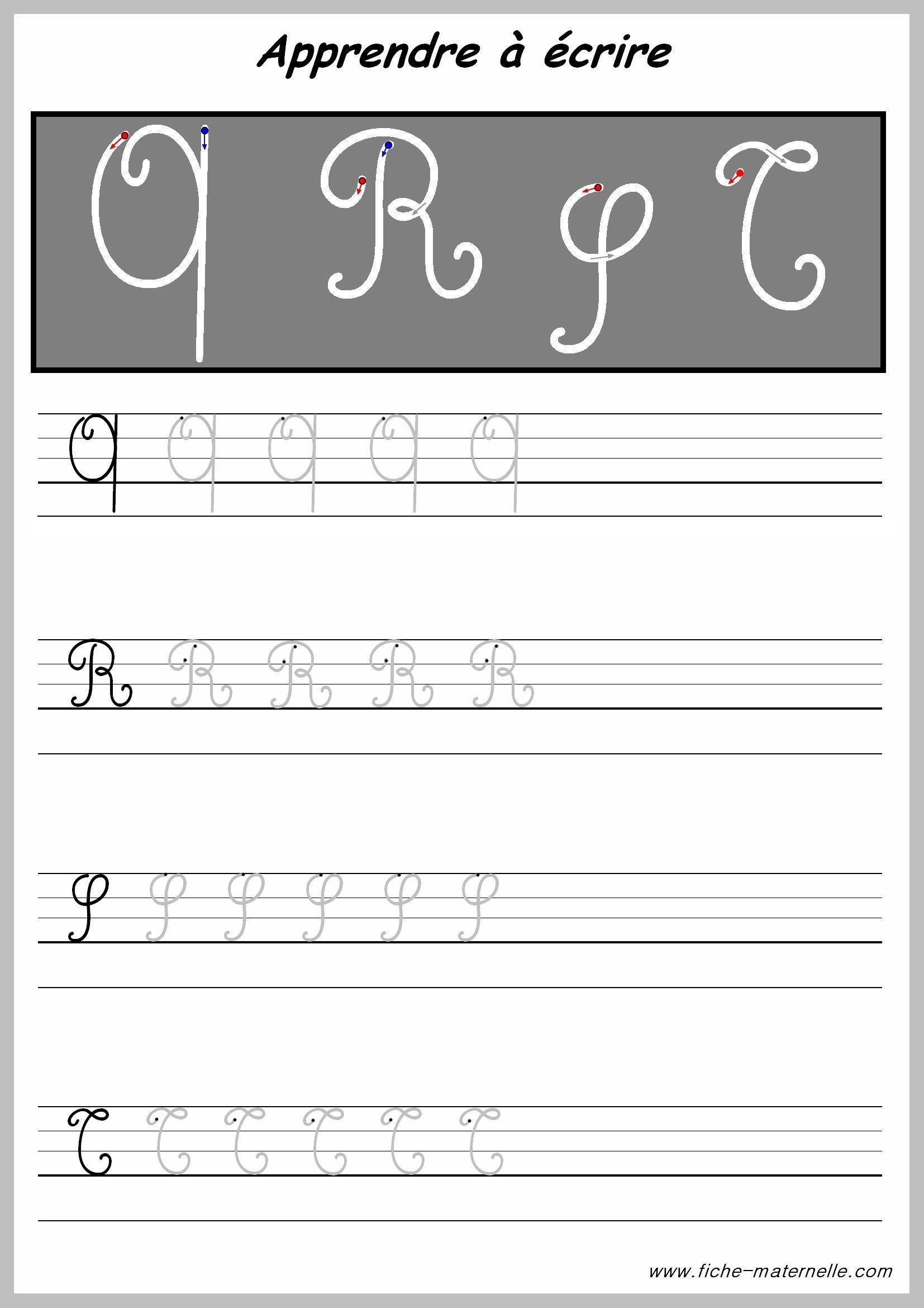 Exercices Pour Écrire Les Lettres Majuscules | Les Lettres à Lettre En Cursive Majuscule