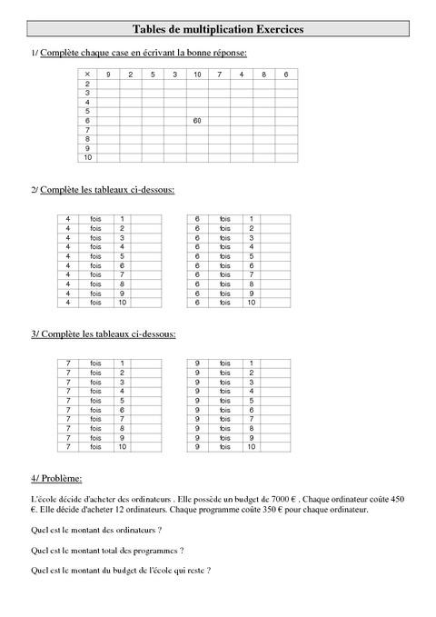 Exercices Table De Multiplication Cm1 pour Exercice Table De Multiplication A Imprimer Gratuitement