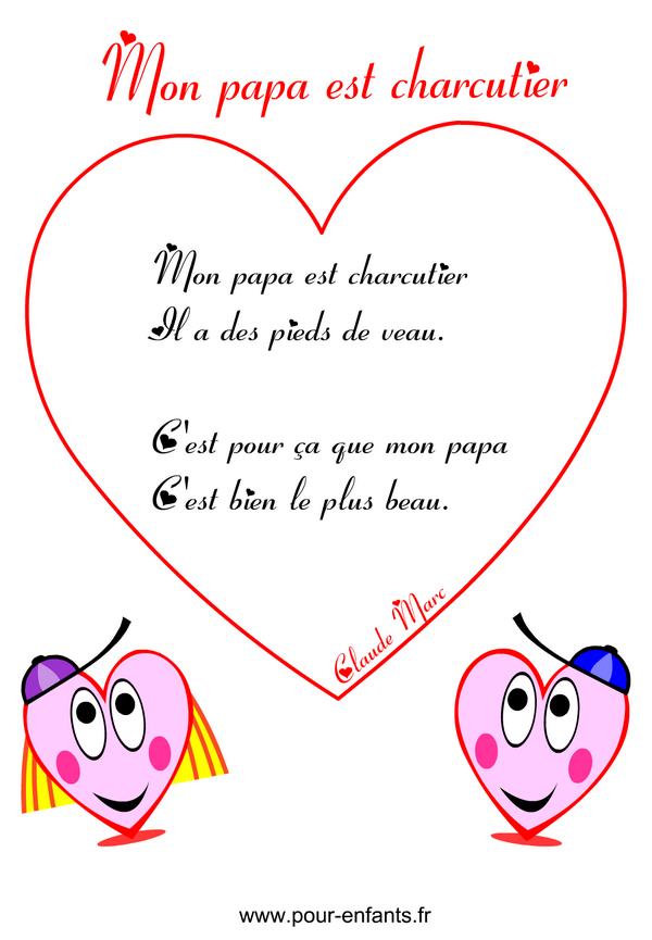 Fête Des Pères | Poème Humoristique À Imprimer En Images avec Poeme Pour Papa