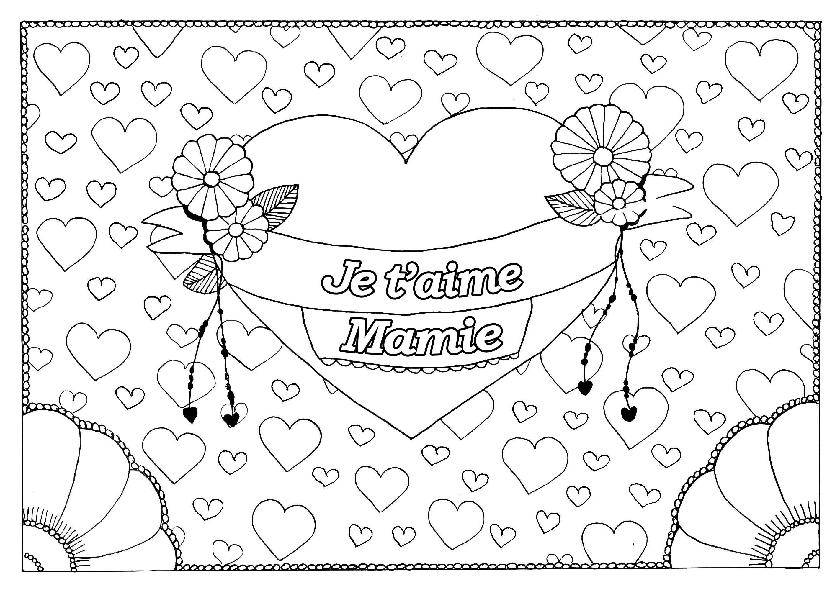 Fete Grand - Coloriages Fêtes Des Grands Parents - Just à Coloriage Bonne Fete Mamie