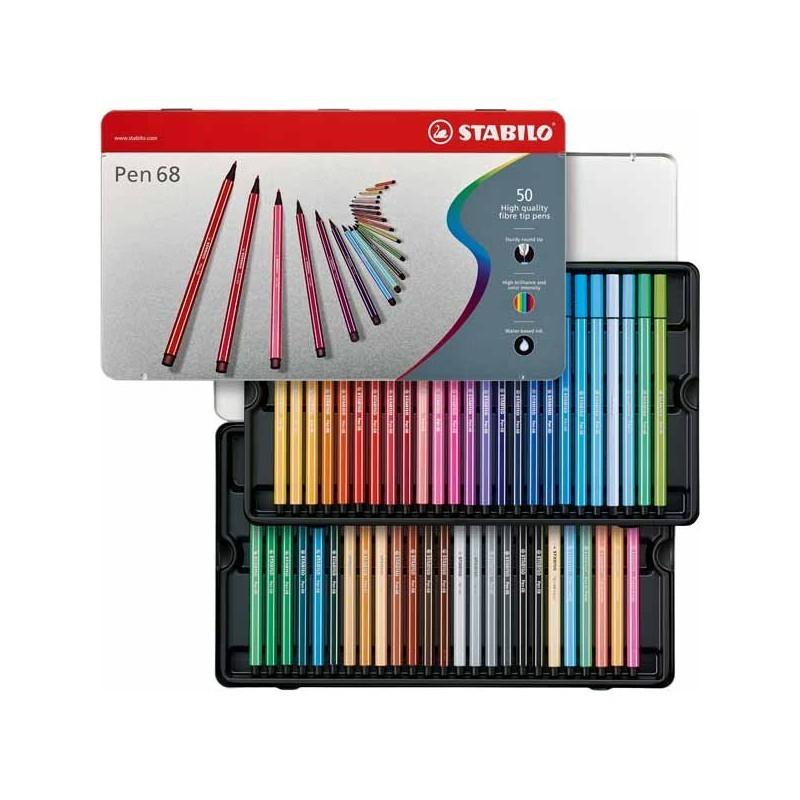 Feutres De Coloriage Stabilo Pen 68 – Boîte Métallique De 50 avec Boite De Feutres Coloriage