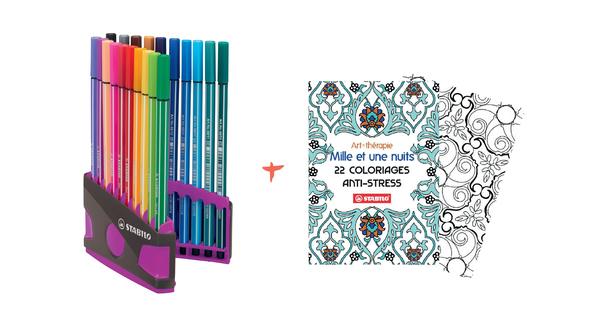 Feutres Stabilo Pen 68 + Cahier Coloriage Offert - Feutres tout Feutre Coloriage Professionnel