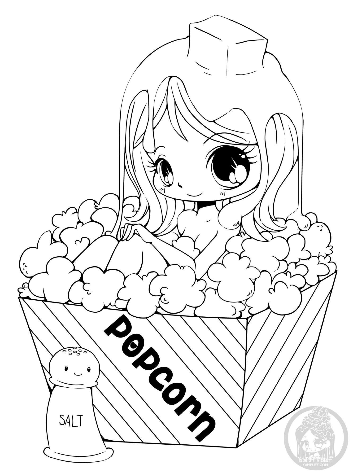 Fille Popcorn Yampuff - Coloriage Kawaii - Coloriages Pour tout Coloriage Kawaii A Imprimer