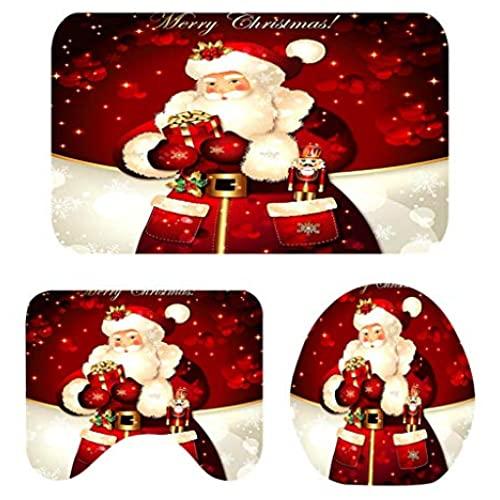 Flameer Lot De 3 Tapis Antidérapant Sous-Tapis De Bain Avec Dessins Imprimé Joyeux Noël Facile À à Tapis Coloriage Eau