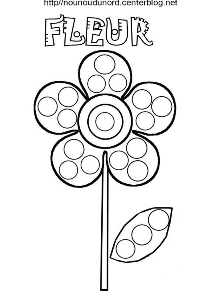 Fleur Coloriage, Pour Gommettes, En Couleur tout Coloriage Avec Modèle À Imprimer