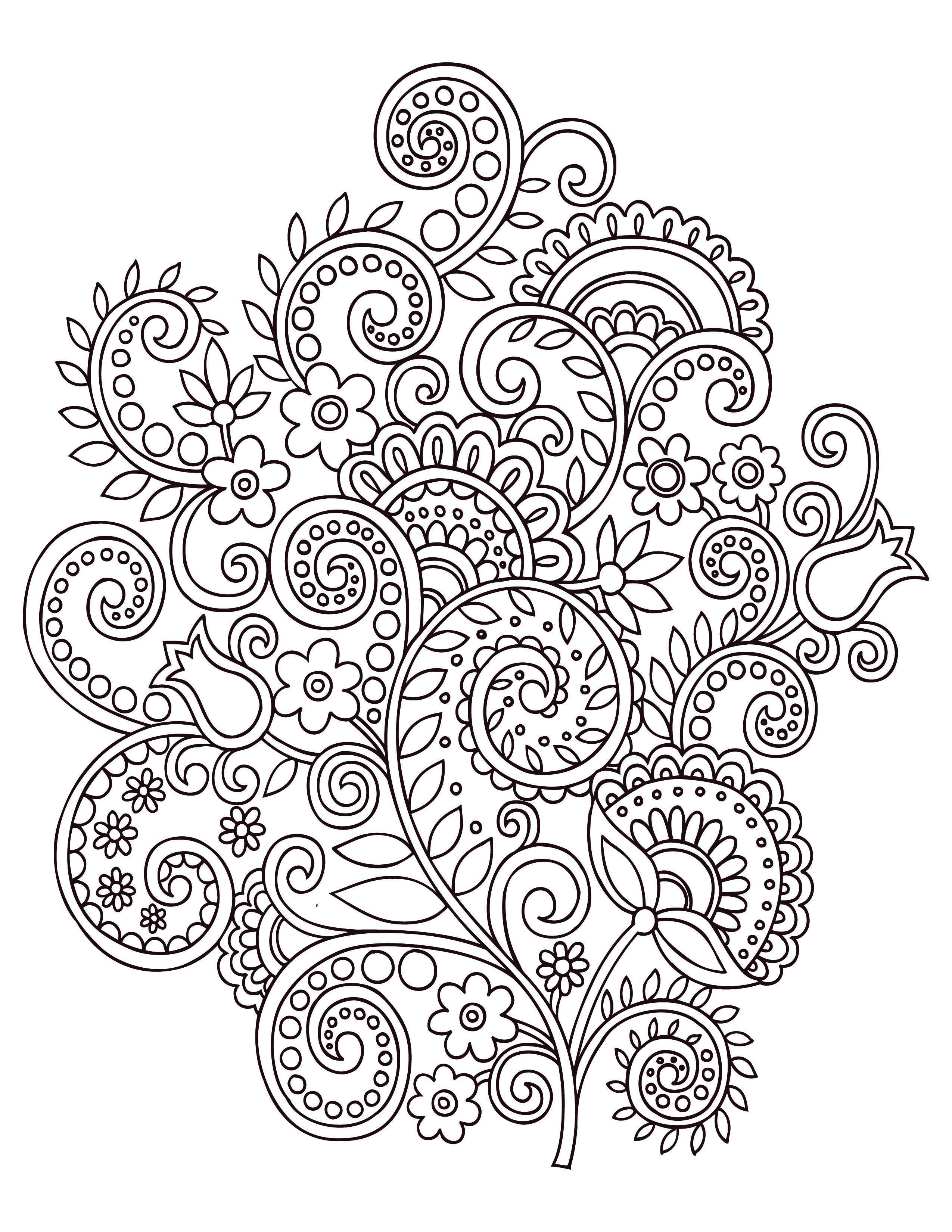Fleurs Doodle Coloriage Anti Stress Gratuit   Coloring encequiconcerne Coloriage Mandala Anti Stress