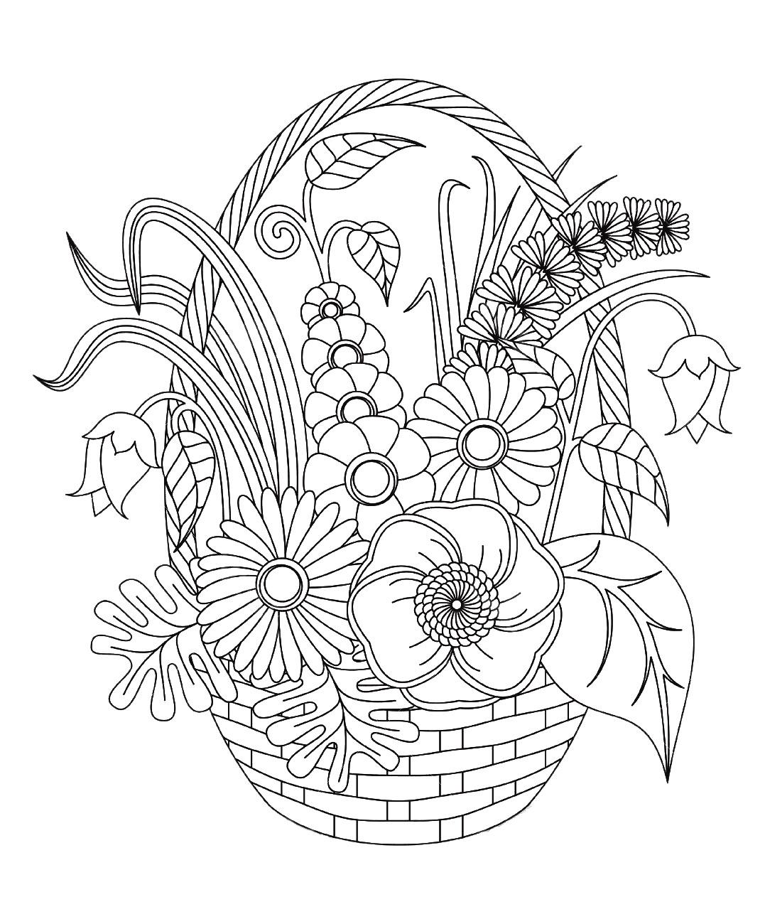 Fleurs Variees Dans Un Panier - Fleurs Et Végétation tout Coloriage Bouquet De Fleurs A Imprimer