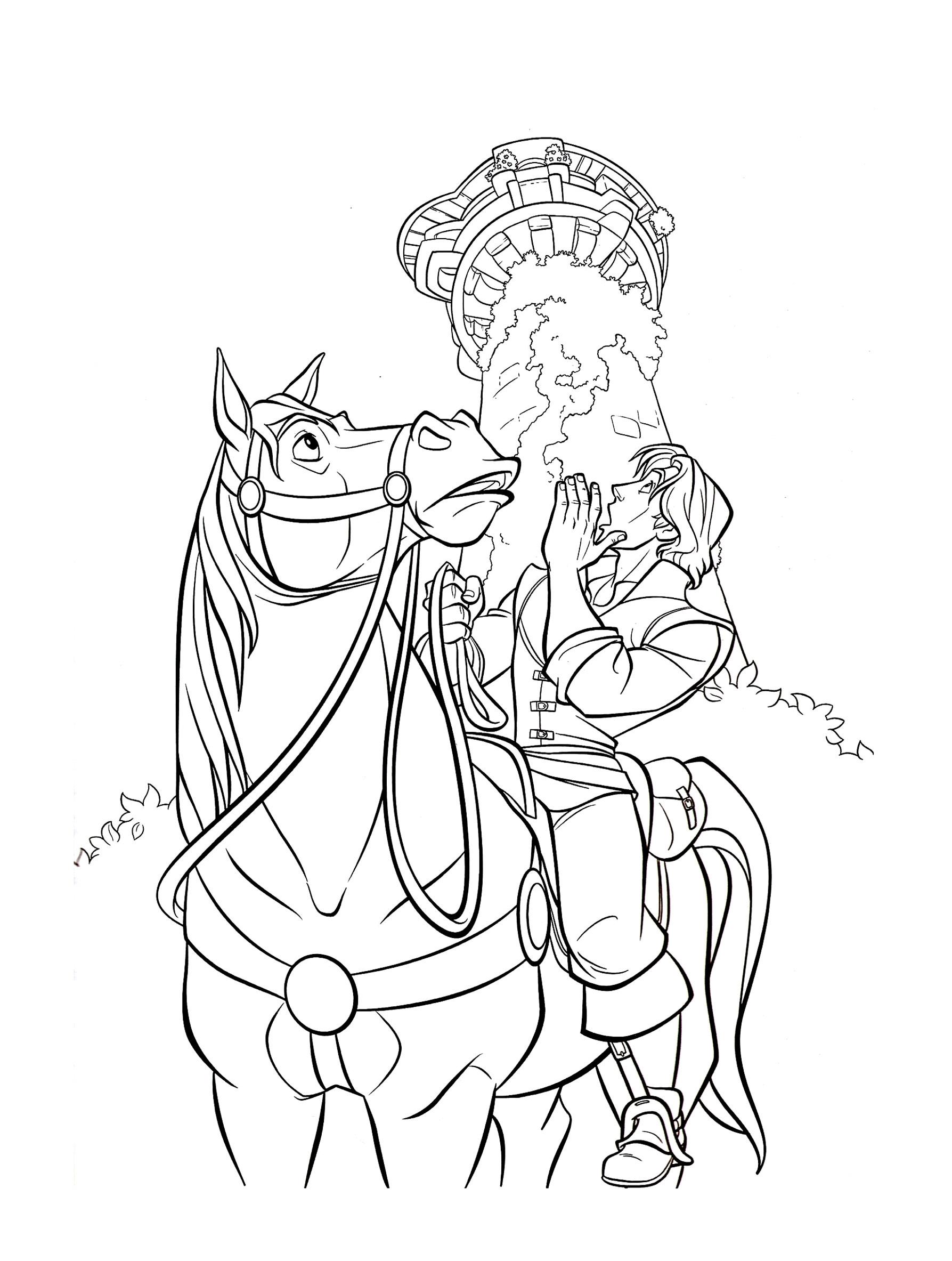 Flynn Cheval Maximus - Coloriage Raiponce - Coloriages dedans Coloriage À Imprimer De Raiponce