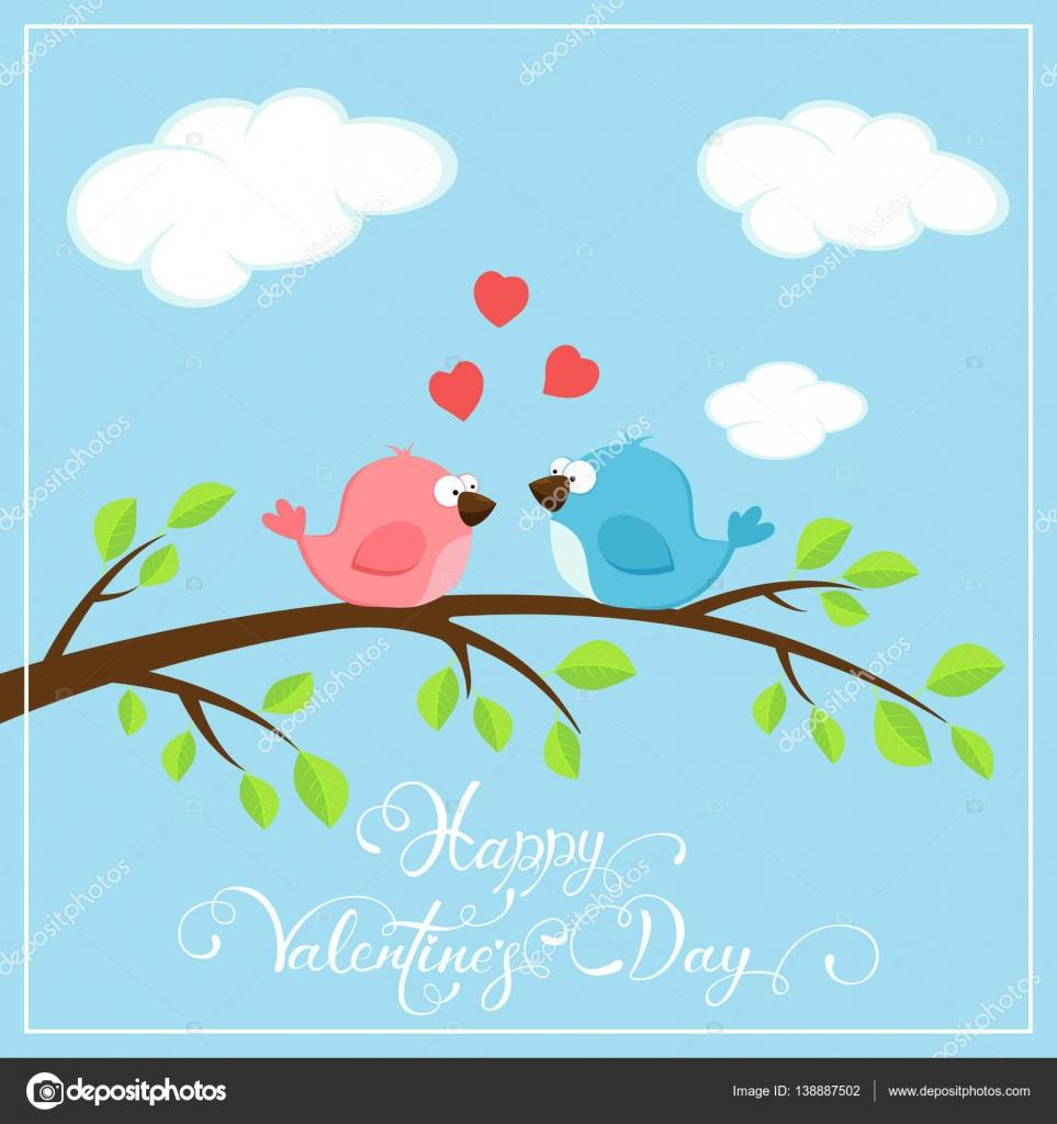 Fond De La Saint-Valentin Avec Deux Oiseaux Et Coeurs dedans Fond D'?Cran Avec Des Oiseaux