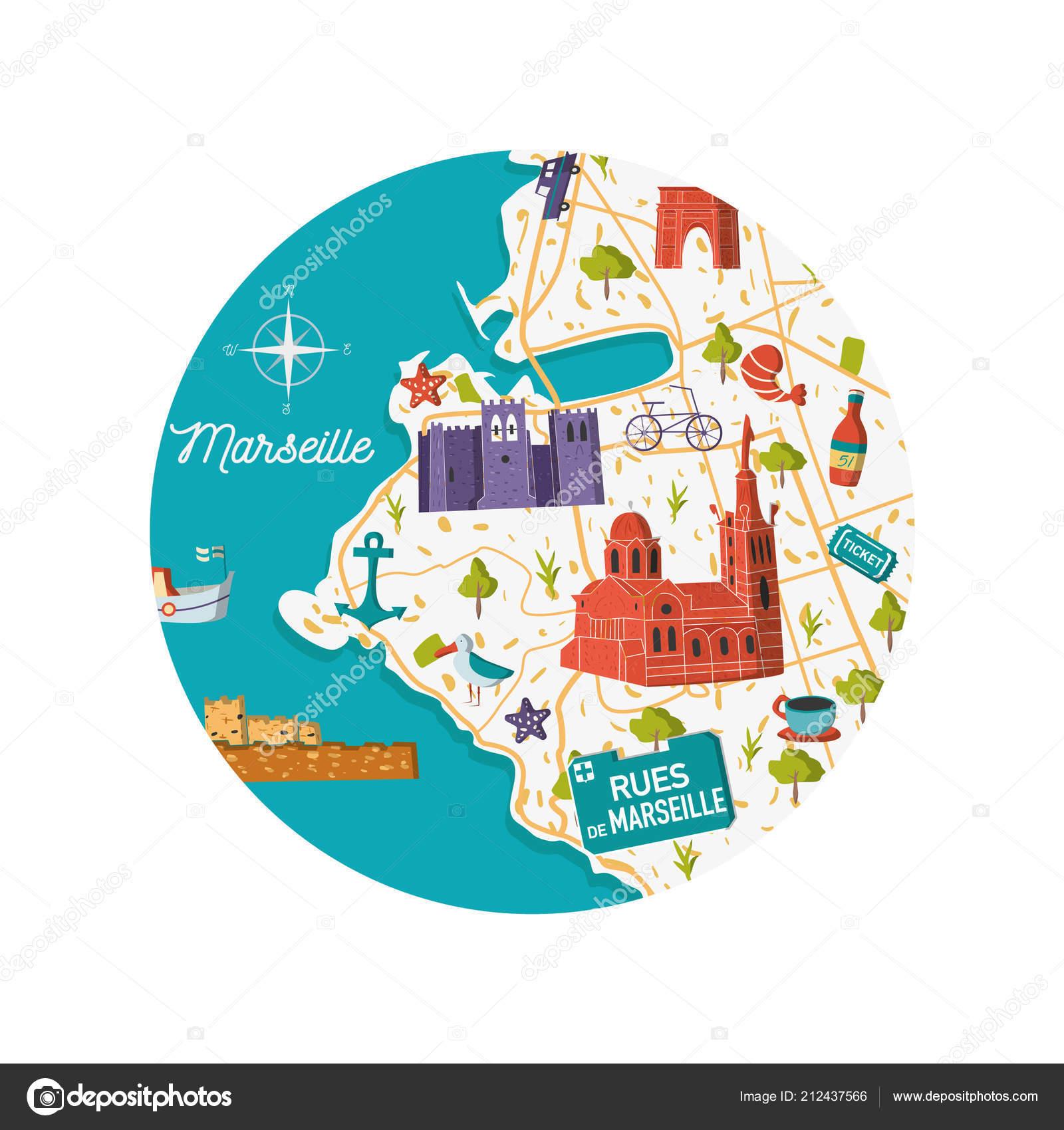 France Marseille Vector Illustration Carte Ville Dessin concernant Dessin Carte De France