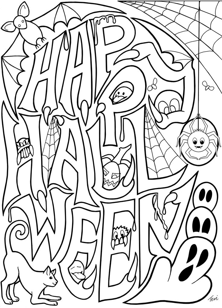 Free Adult Coloring Book Pages #Happy #Halloween By Blue Star Coloring | Halloween Coloring concernant Happy Color Coloriage