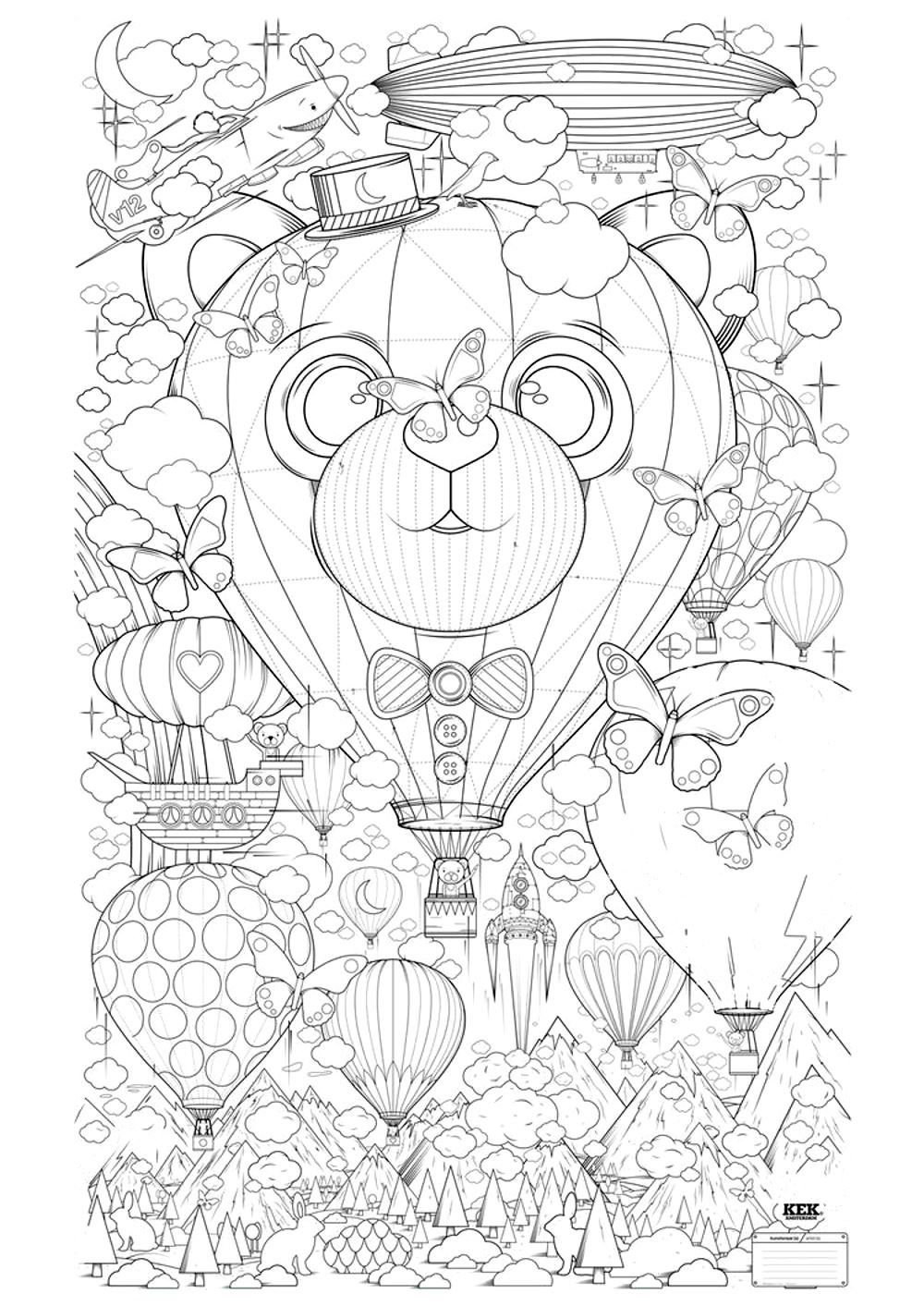 Free Coloring Page «Coloring-Adult-Hot-Air-Balloon-Zen intérieur Coloriage Anti Stress Adulte