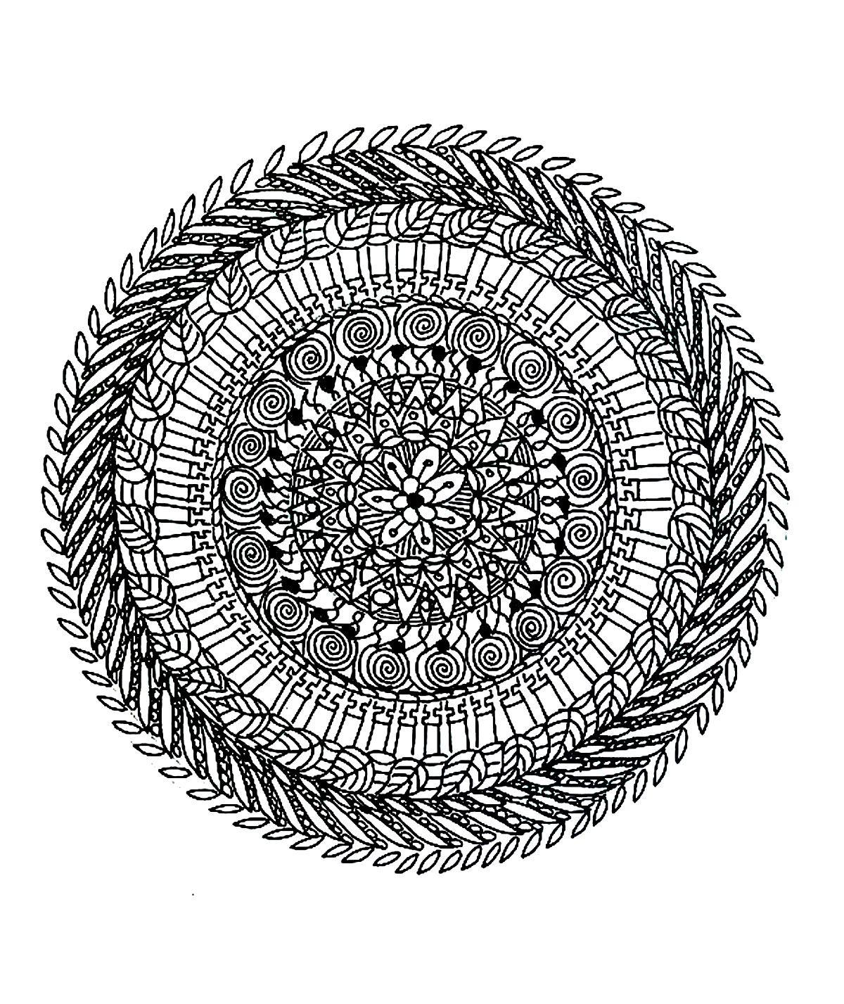 Free Coloring Page «Coloring-Free-Mandala-Difficult-Adult intérieur Coloriage Adultes À Imprimer