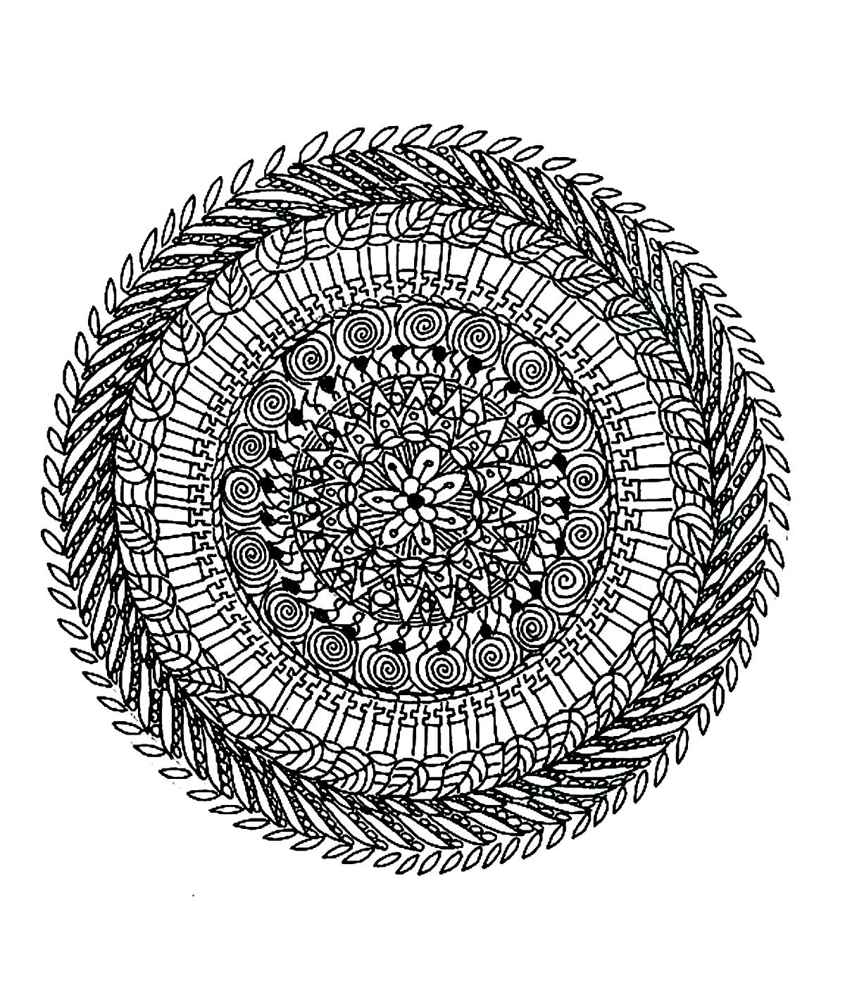 Free Coloring Page «Coloring-Free-Mandala-Difficult-Adult serapportantà Coloriage Mandala Adulte