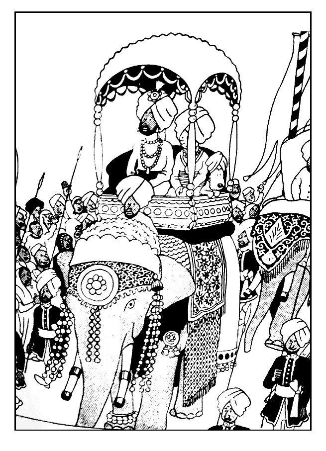 Free Coloring Page Coloring-Tintin-On-A-Elephant. Tintin à Coloriage Tintin Et Milou