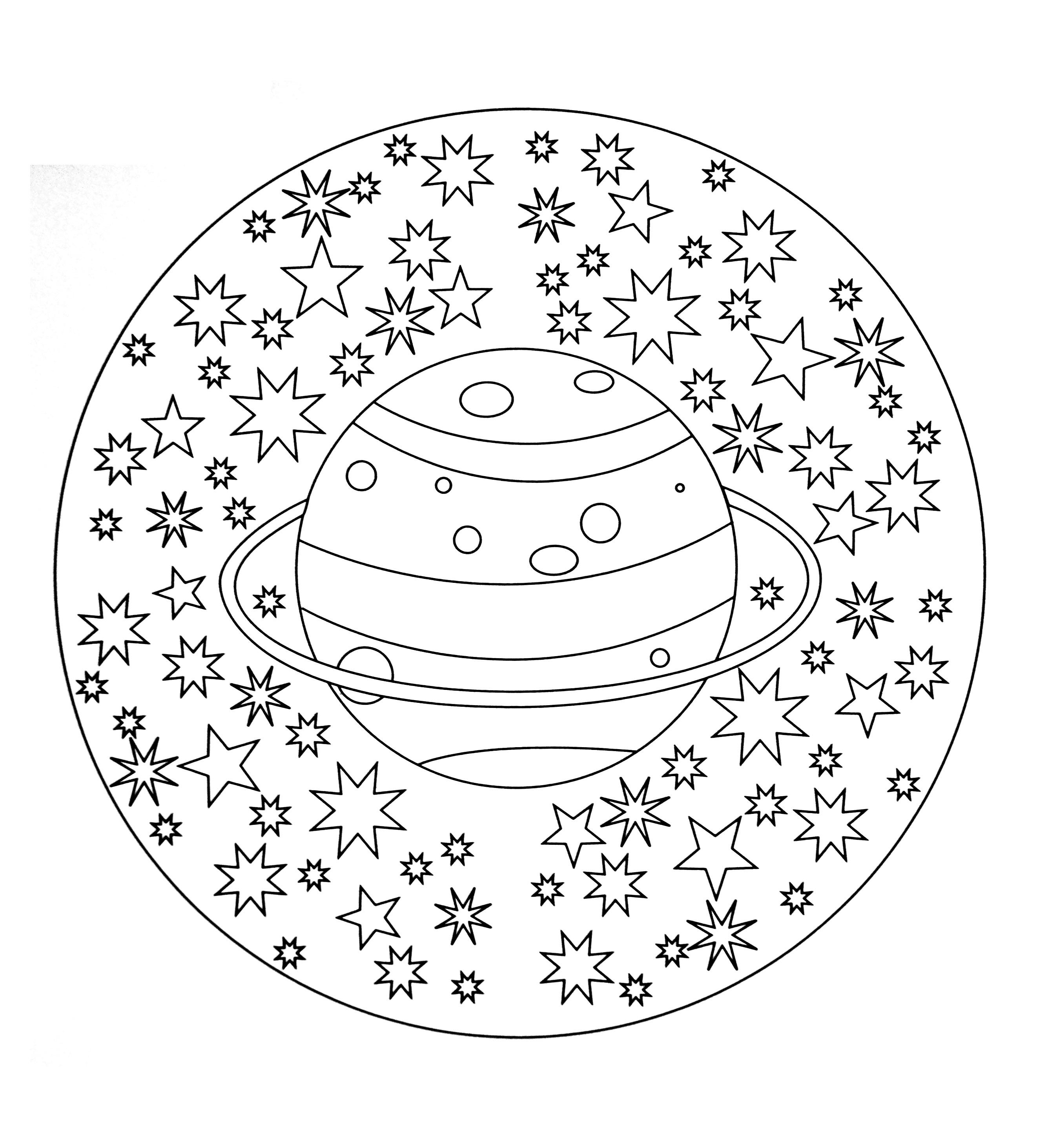 Free Mandala To Color : Planet Stars - M&Alas Adult intérieur Dessin Uranus