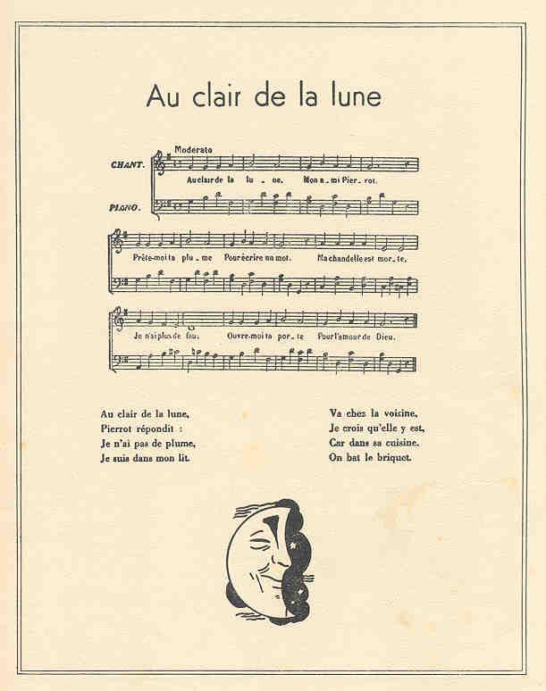 French Children'S Prints - Maurice Berty (C. 1930S) destiné Lyrics Au Clair De La Lune