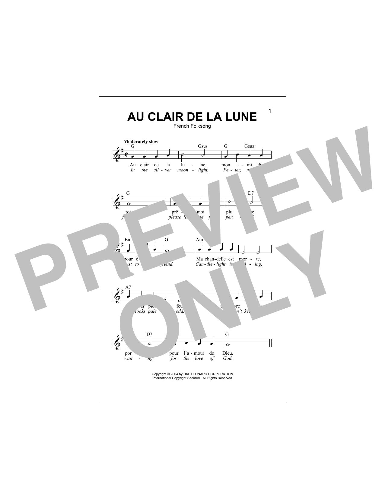 French Folksong - Au Clair De La Lune Sheet Music encequiconcerne Lyrics Oh Clair De La Lune