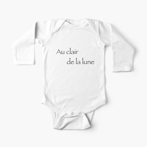 French Words Long Sleeve Baby One-Piece | Redbubble tout Au Clair De La Lune Lyrics Hiro