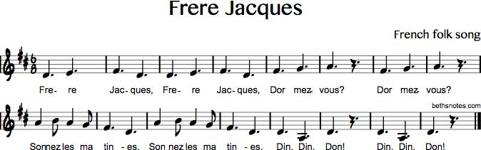 Frere Jacques - Are You Sleeping - Beth'S Notes encequiconcerne Dormez Vous Frere Jacques