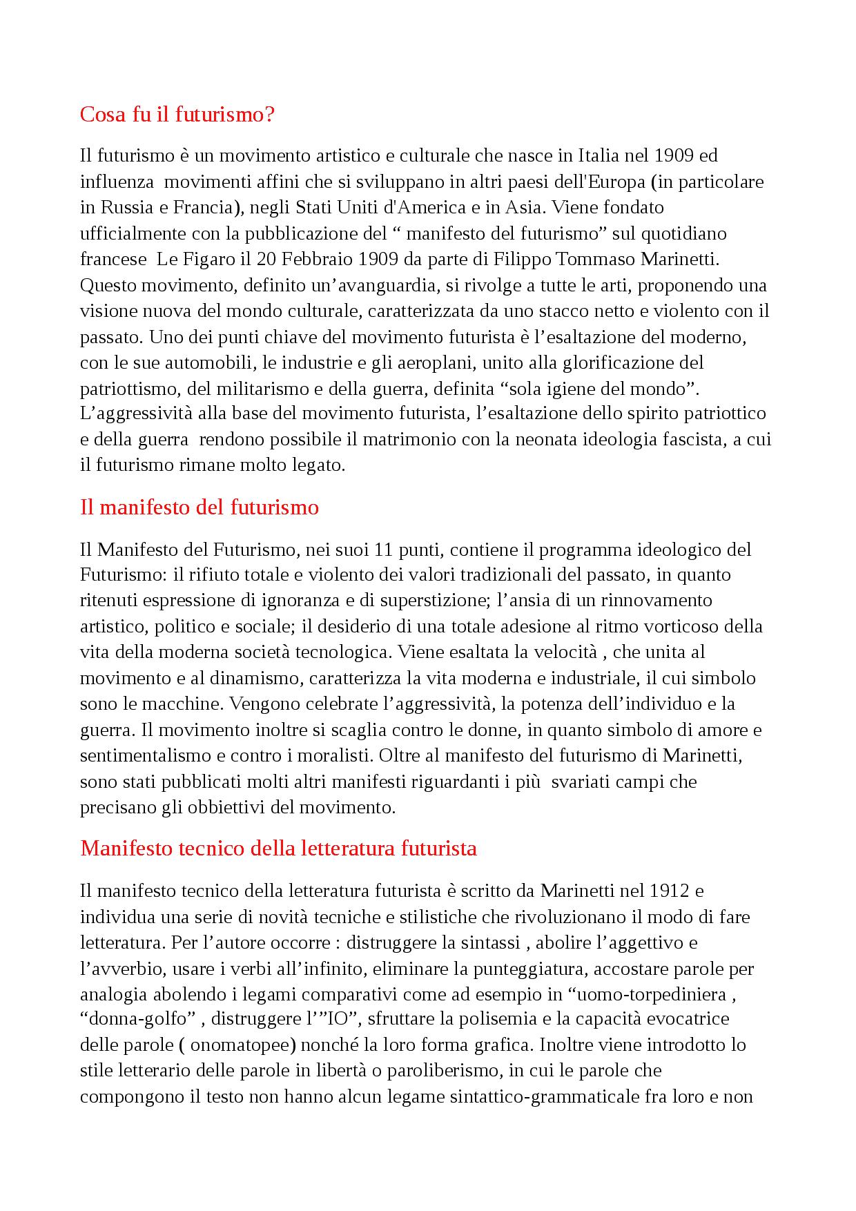 Futurismo, Manifesto Tecnico Del Futurismo , Manifesto encequiconcerne Docsity