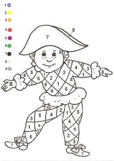 Gabarit - Coloriage Magique Arlequin   Coloriage Magique intérieur Coloriage Maternelle