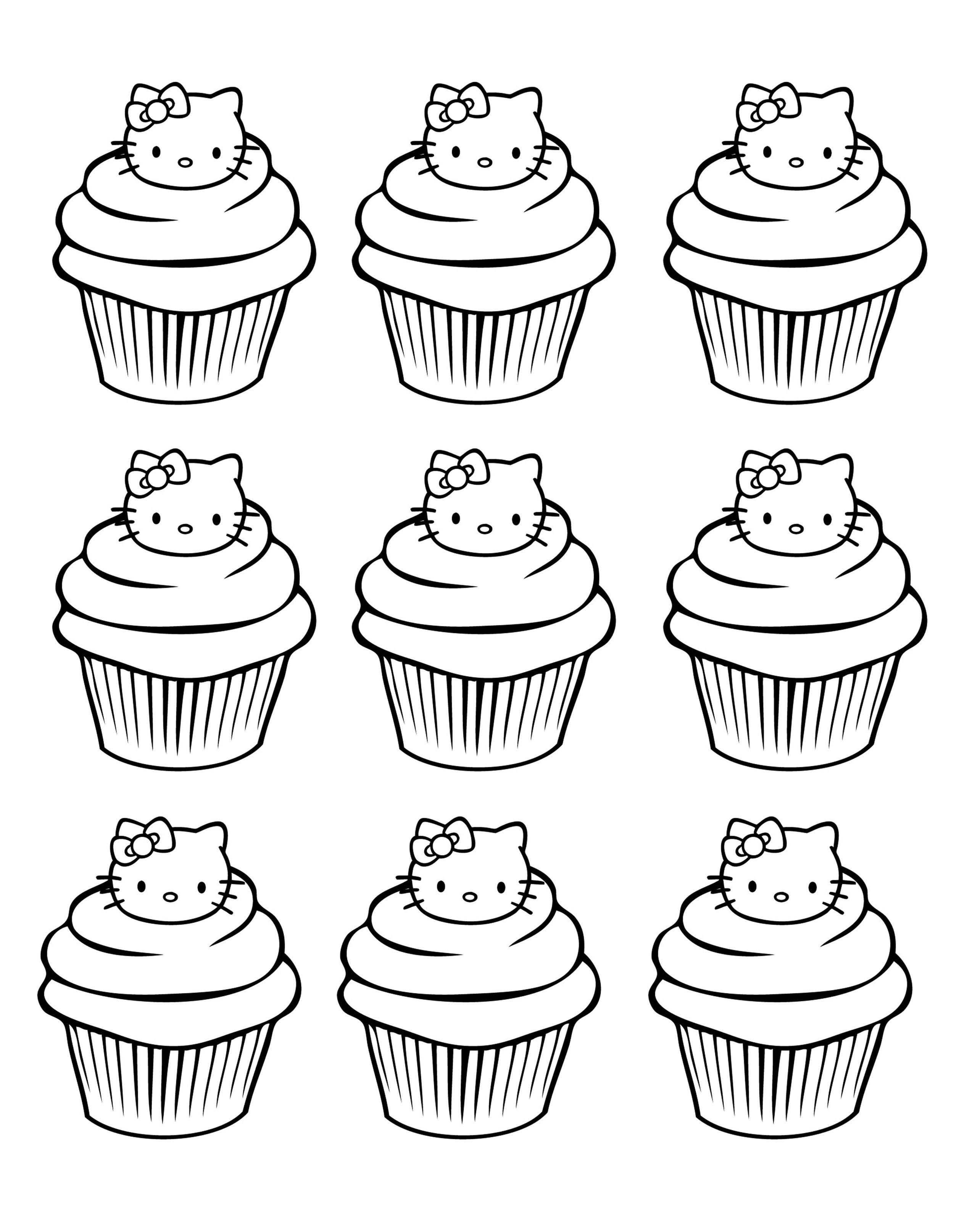 Galerie De Coloriages Gratuits Coloriage-Cupcakes-Hello encequiconcerne Dessin À Imprimer Hello Kitty
