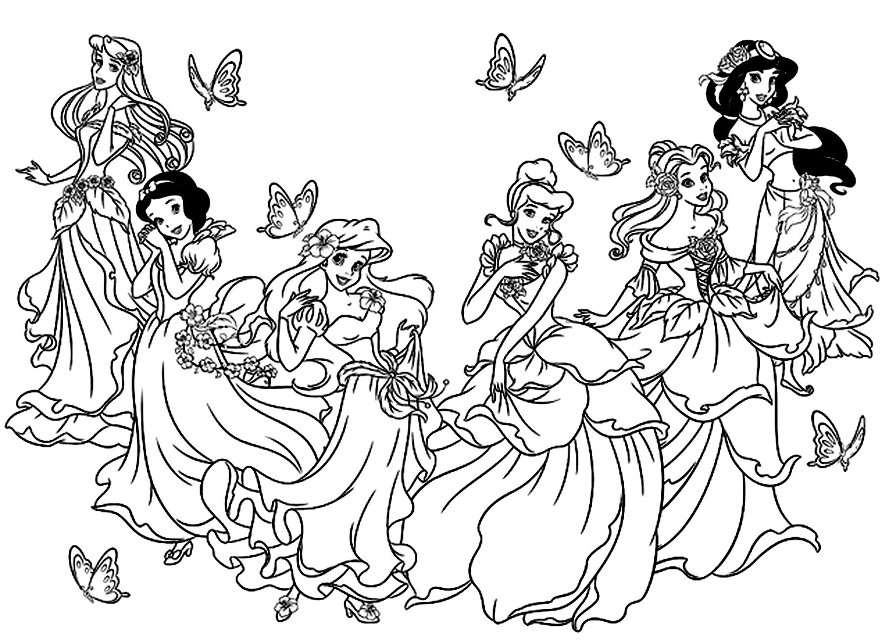 Galerie De Coloriages Gratuits Coloriage-Toutes-Les dedans Dessin À Imprimer Princesse Disney