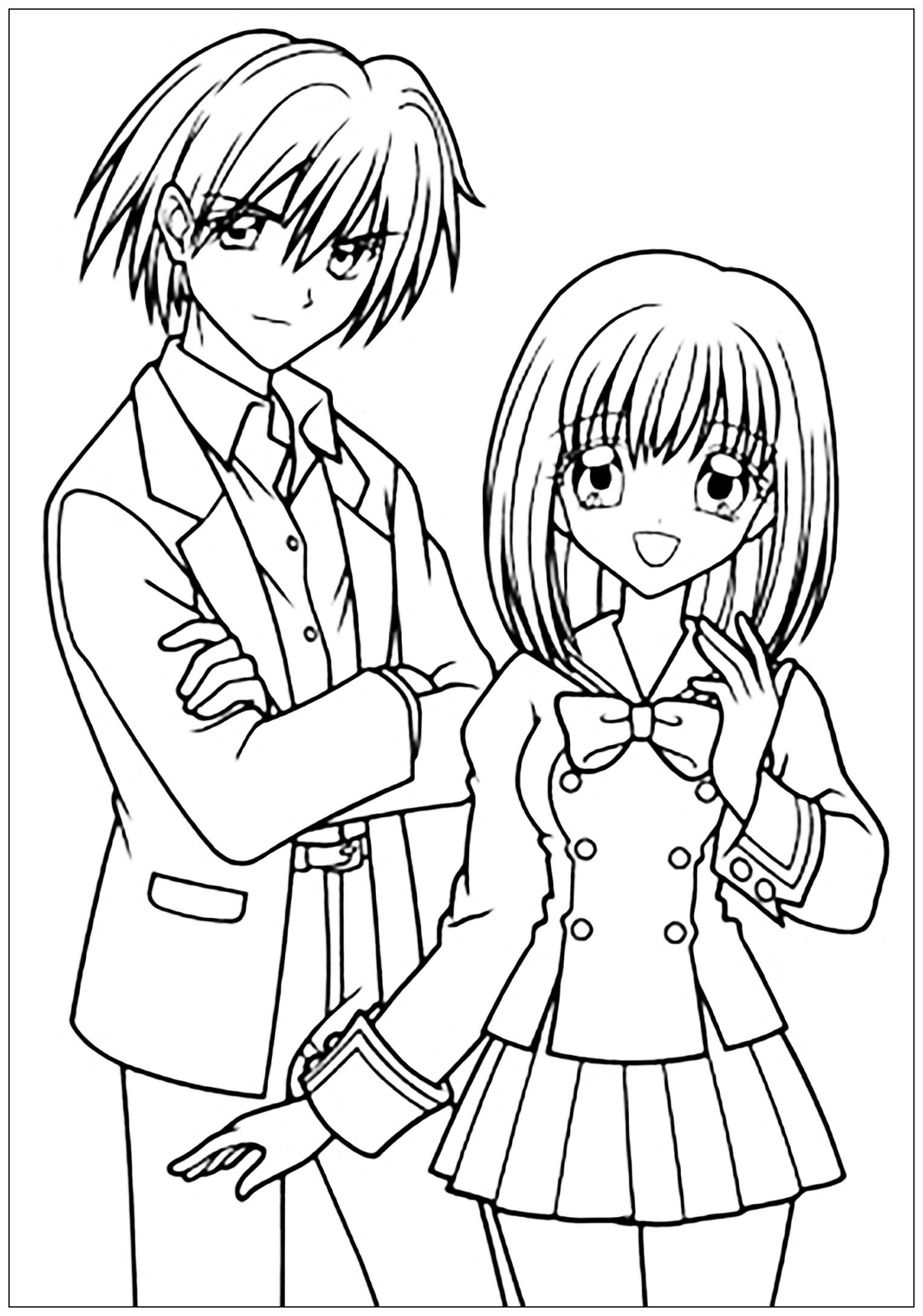 Garcon Et Fille Manga Tenue Scolaire - Mangas / Animés à Manga Dessin A Imprimer