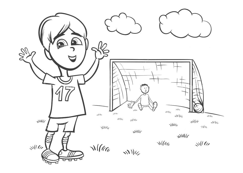 Garçon Jouant Au Foot - Coloriage Football - Coloriages pour Coupe Du Monde Dessin
