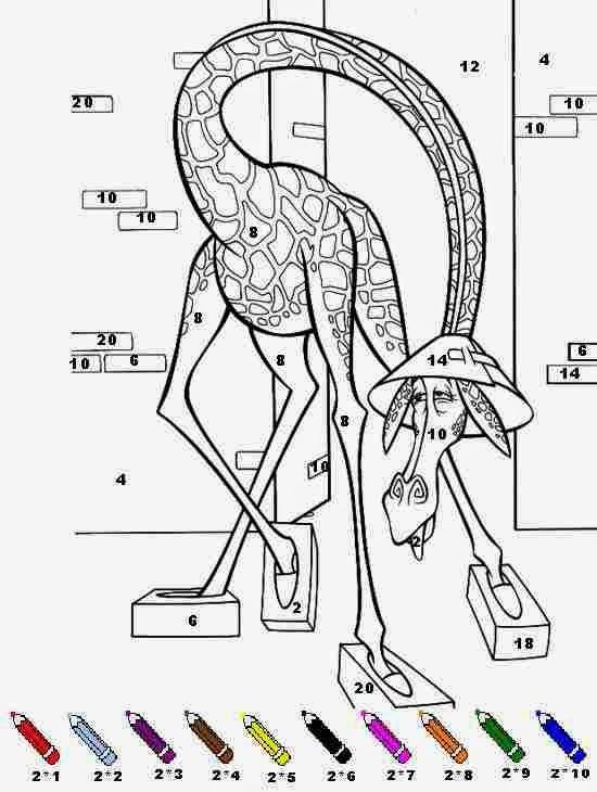 Girafe Coloriages Magiques Multiplications Madagaskar concernant Dessin Girafe Simple