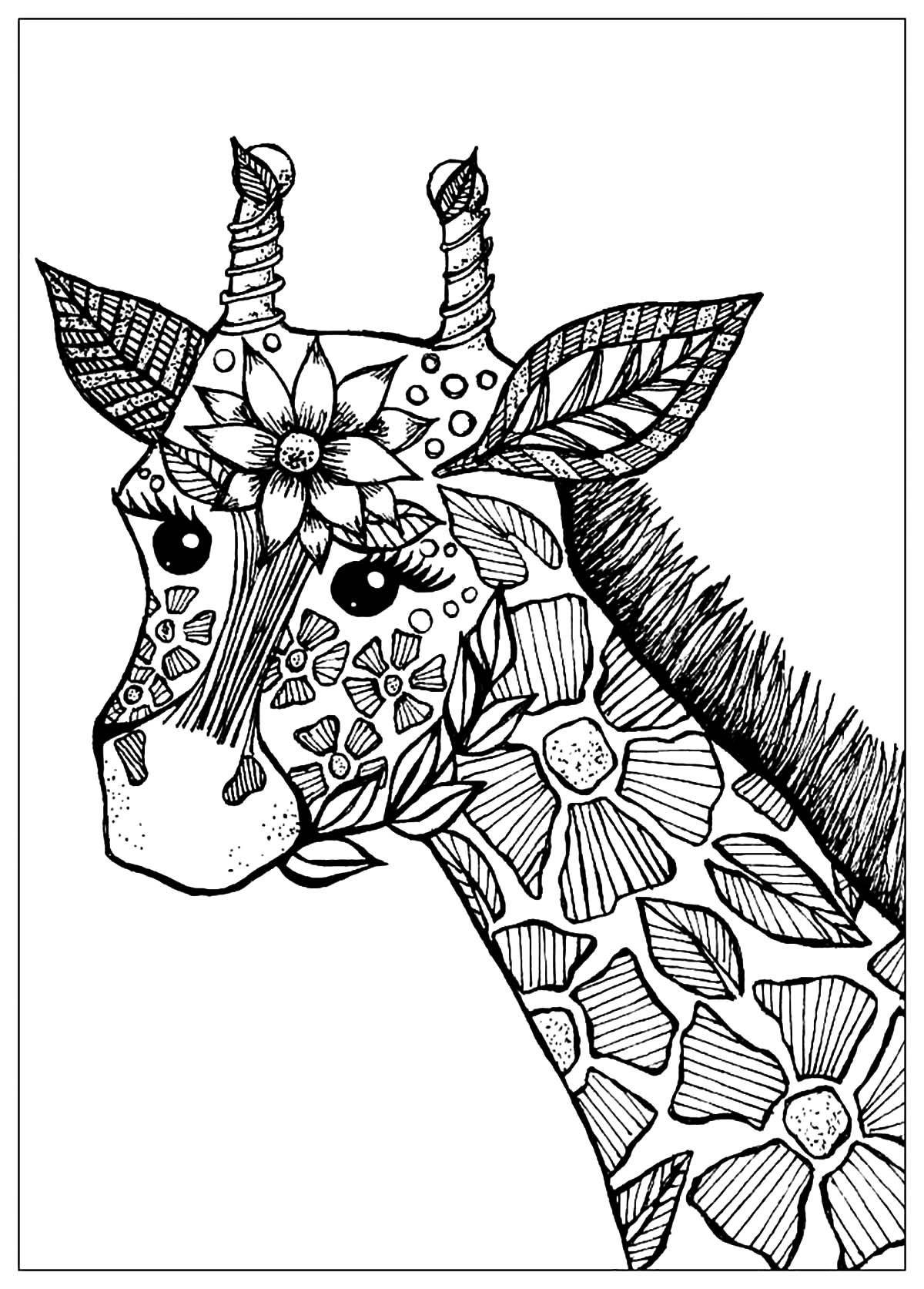 Giraffe Head With Flowers - Giraffes Adult Coloring Pages tout Dessin Girafe Simple