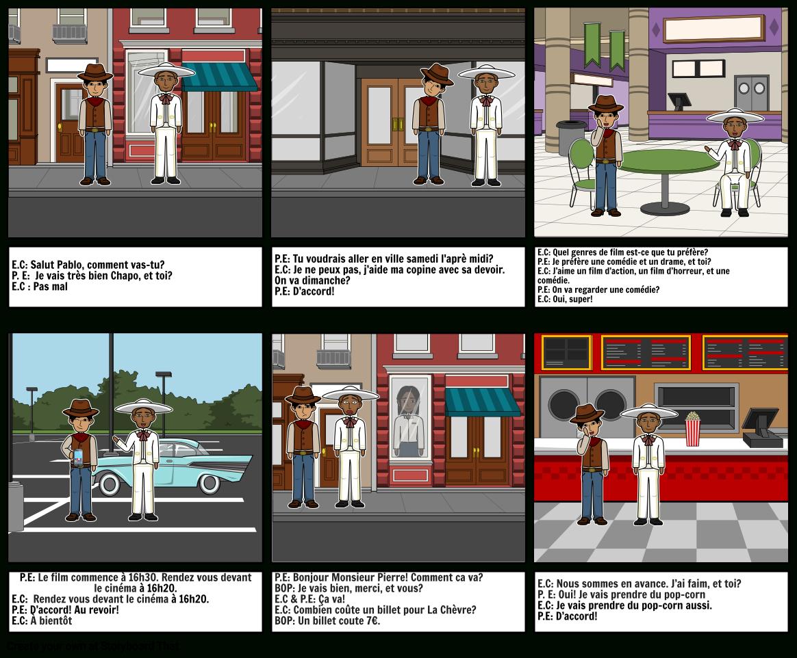 Going To The Movies? Storyboard Von Militza À Bonjour concernant Bonjour Monsieur Lundi. Comment Ca Va