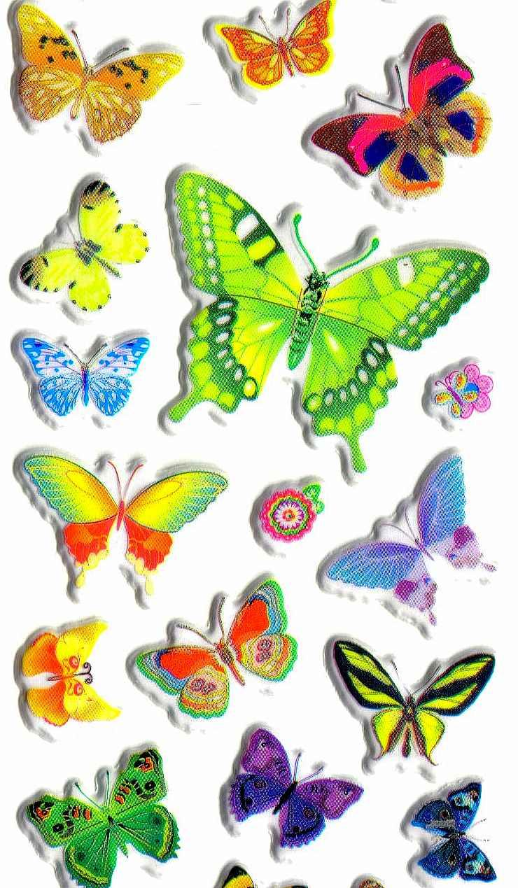 Gommettes Autocollantes Papillons Charmants dedans Dessin De Papillon En Couleur