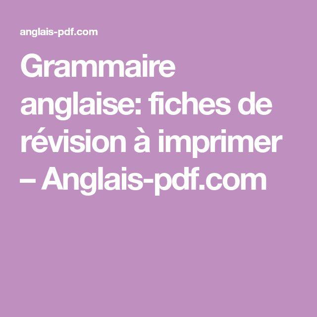 Grammaire Anglaise: Fiches De Révision À Imprimer à Photo Anglaise A Imprimer