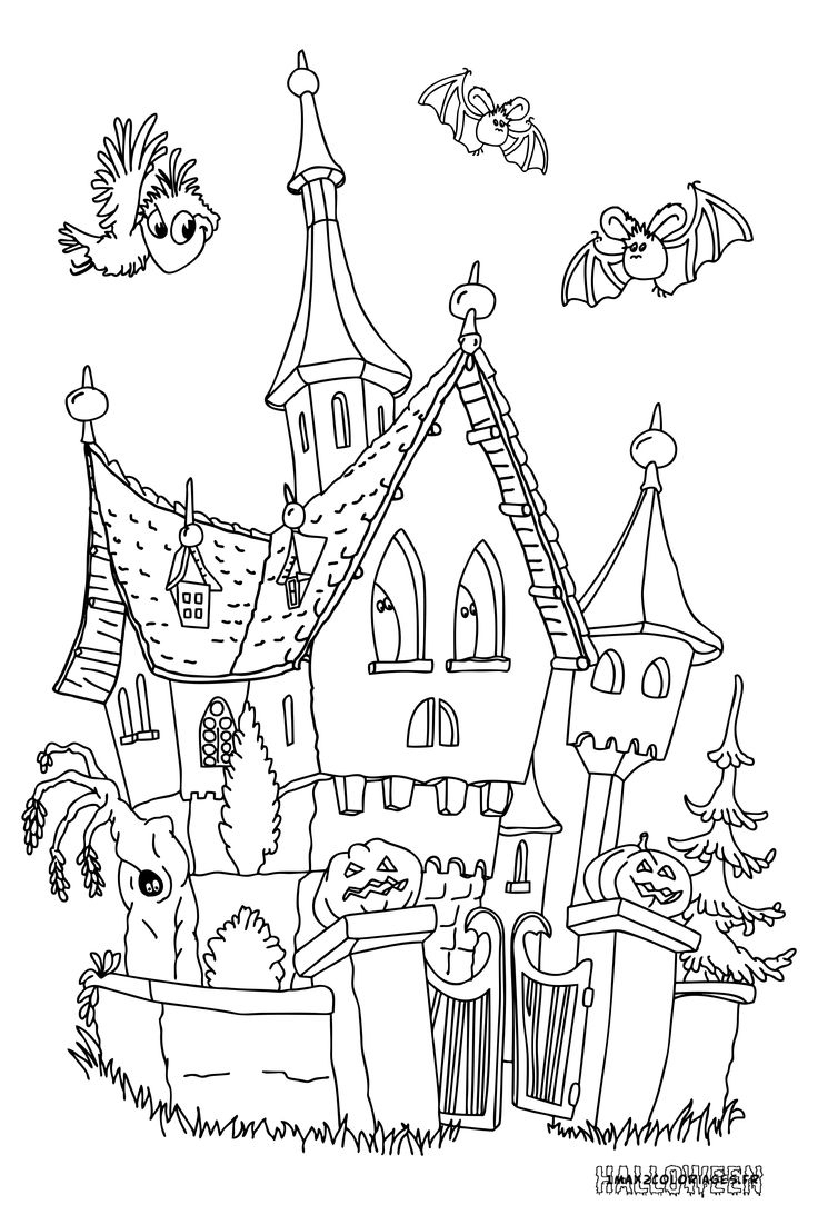 Grande Image Le Chateau Hante (With Images) | Halloween à Coloriage Chateau Hanté