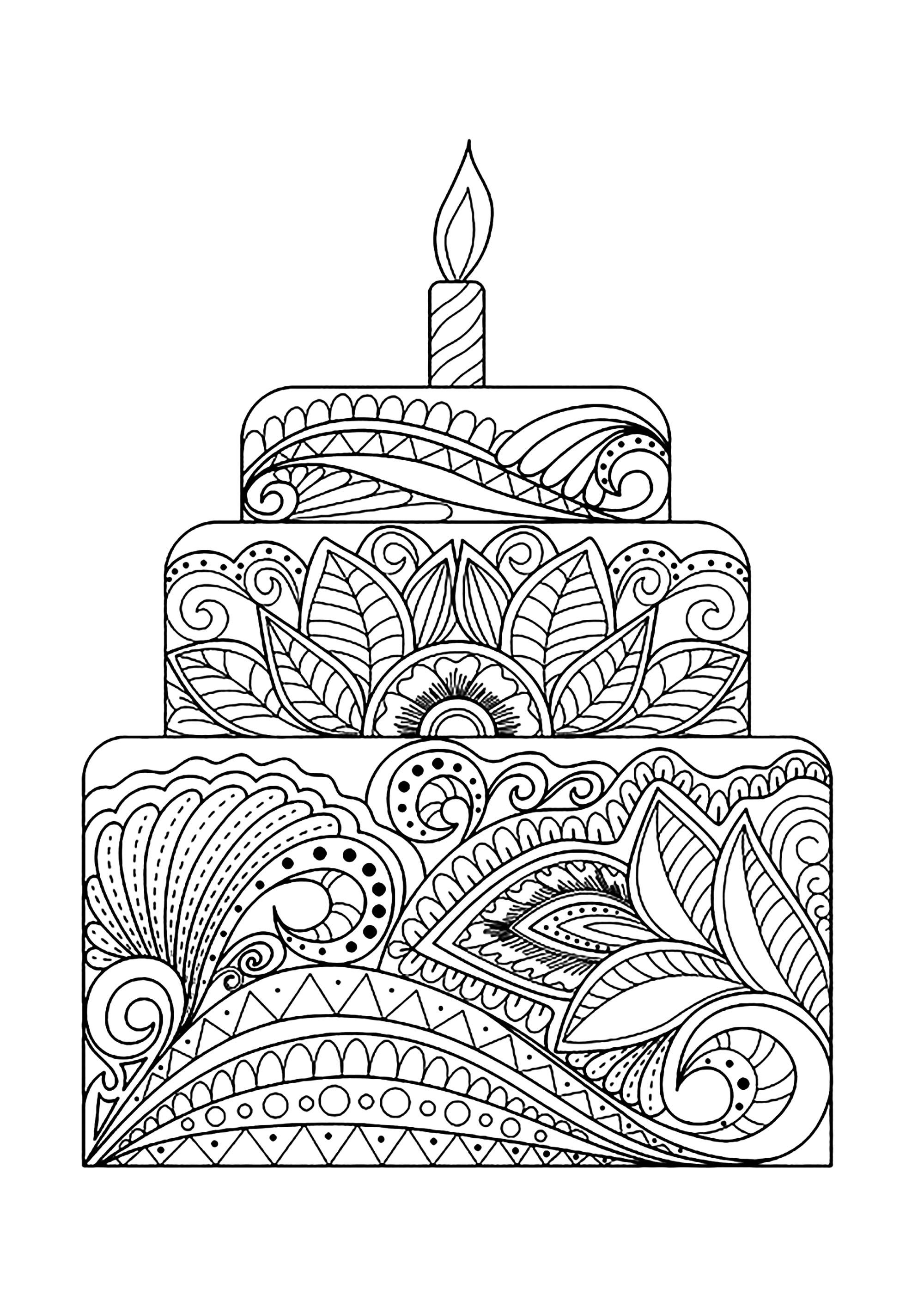 Gros Gâteau Fleuri - Cupcakes Et Gâteaux - Coloriages à Dessin Gateaux