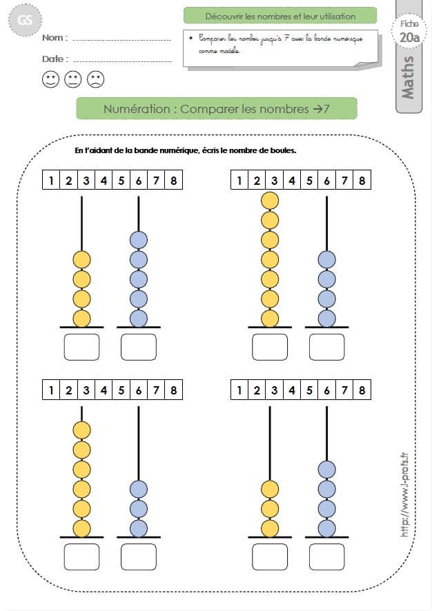 Gs: Exercices Mathematiques Comparer Les Nombres Jusqu'À 7 serapportantà Fiche Exercice Grande Section