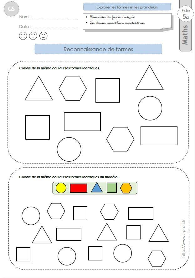Gs: Exercices Mathematiques Reconnaitre Des Formes encequiconcerne Exercices Coloriage Grande Section Imprimer