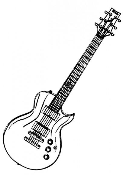 Guitare Electrique : Coloriage Guitare Électrique À destiné Coloriage Guitare